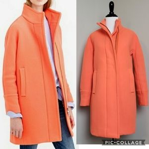 J. Crew Neon Orange Wool Stadium Cloth Cocoon Coat